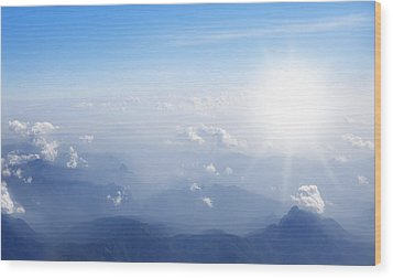 Mountain With Blue Sky And Clouds Wood Print by Setsiri Silapasuwanchai