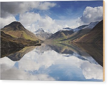 Mountains And Lake, Lake District Wood Print by John Short