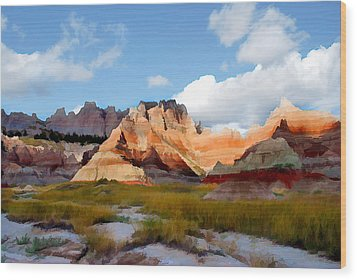 Mountains And Sky In Badlands National Park Wood Print by Elaine Plesser