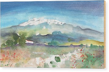 Mountains By Agia Galini Wood Print by Miki De Goodaboom