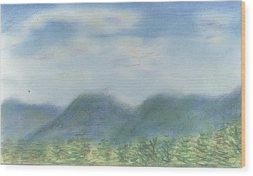Wood Print featuring the pastel Mountains Over Lennox by Denny Morreale