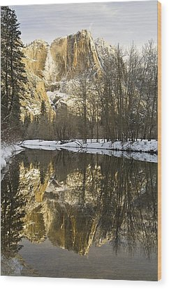 Mountains Reflecting In Merced River In Wood Print by Robert Brown
