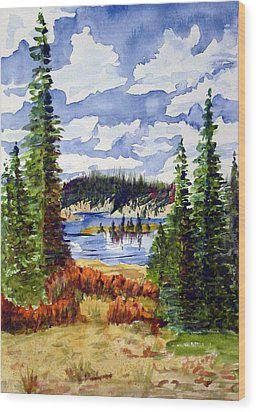Mountian Lake Wood Print by Linda Pope