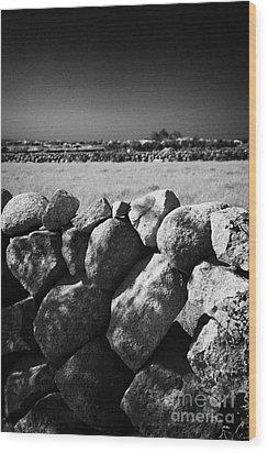 Mourne Granite Irish Dry Stone Wall Ireland Wood Print by Joe Fox