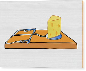 Mousetrap With Cheese - Trap Wood Print by Michal Boubin