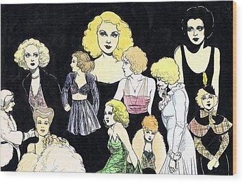 Movie Ladies Montage Wood Print by Mel Thompson