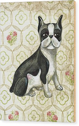 Mr. Iggy The Boston Terrier Wood Print by Nancy Mitchell