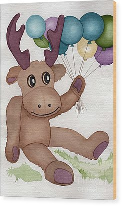 Mr Moose With Balloons Wood Print by Vikki Wicks
