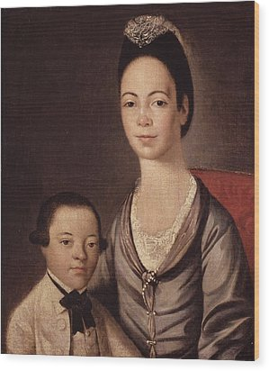Mrs. Aaron Lopez And Her Son Joshua Wood Print by  Gilbert Stuart