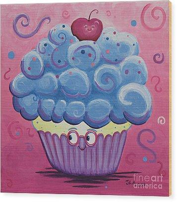 Mrs. Blue Cupcake Wood Print by Jennifer Alvarez