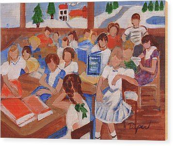 Mrs. Chamberlain's Fifth Grade In Canajoharie Wood Print by Elzbieta Zemaitis