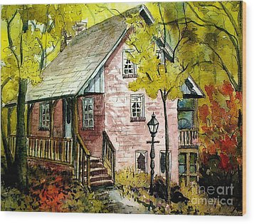 Wood Print featuring the painting Mrs. Henry's Home 2 by Gretchen Allen