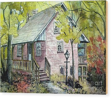 Wood Print featuring the painting Mrs. Henry's Home by Gretchen Allen