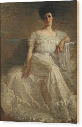 Mrs. Leslie Thayer Green Wood Print by John Willard Clawson