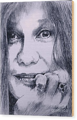 Ms. Joplin Wood Print by Robbi  Musser