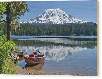 Mt Adams At The Lake Wood Print