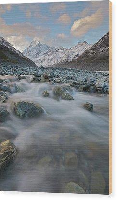 Mt Cook Stream Wood Print by Sven Klerkx
