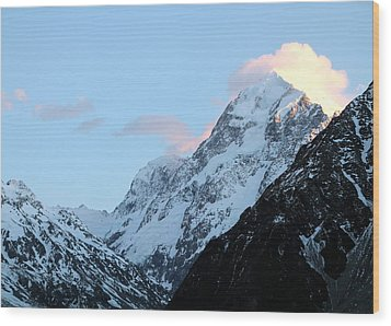 Wood Print featuring the photograph Mt. Cook With Sunlit Clouds by Laurel Talabere