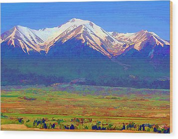 Wood Print featuring the digital art Mt. Princeton Morning by Brian Davis