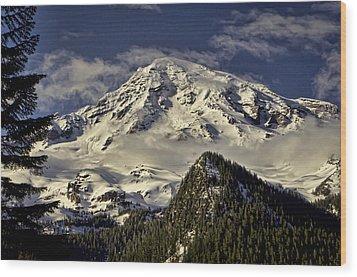 Mt Rainier Wood Print by Heather Applegate