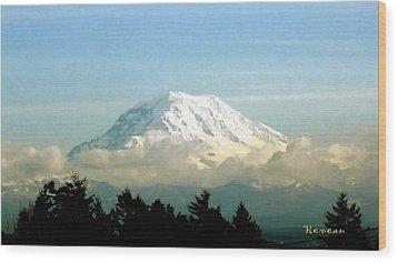 Mt. Rainier In Cloud Blanket Wood Print by Sadie Reneau