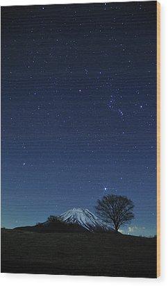 Mt.fuji In Winter Wood Print by Takeshi.K