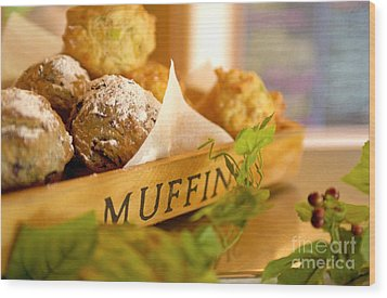 Muffins Fresh And Warm Wood Print