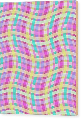 Multi Check Wood Print by Louisa Knight