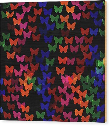 Multi Colored Butterfly Shaped Lights Wood Print by Lotus Carroll