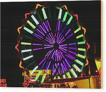 Multi Colored Ferris Wheel Wood Print by Kym Backland
