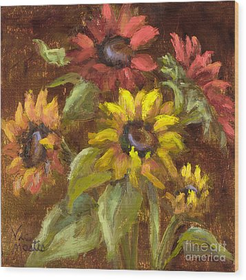 Multicolored Sunflowers With Gold Leaf By Vic Mastis Wood Print by Vic  Mastis