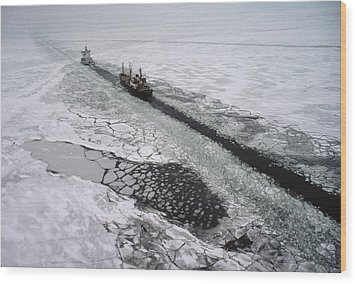 Multinational Fleet Of Icebreakers Wood Print by Cotton Coulson