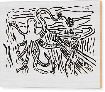 Wood Print featuring the painting Munch On Octopussy A Tribute To Munch With Romantic Octopus Pier Screaming Boats Lake Flower Love by M Zimmerman