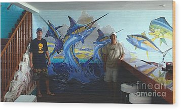 Mural In Bimini Wood Print by Carey Chen