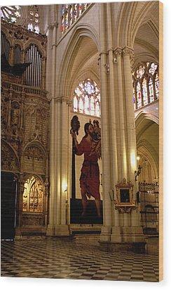 Mural Of Saint Christopher And Baby Jesus Wood Print by Lorraine Devon Wilke