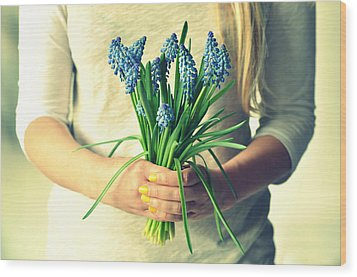 Muscari In Womans Hands Wood Print by Photo by Ira Heuvelman-Dobrolyubova