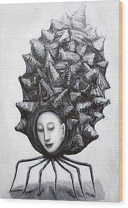 Muse In A Shell Wood Print by Kazuya Akimoto