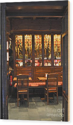 Museo De Jamon Seville Wood Print by Mary Machare