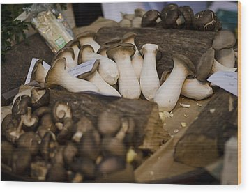 Mushrooms At The Market Wood Print by Heather Applegate