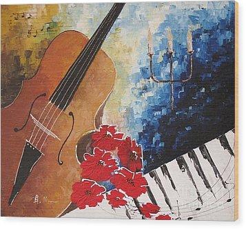 Music 2 Wood Print by AmaS Art
