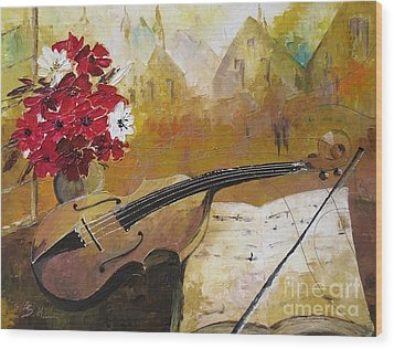 Music Wood Print by AmaS Art