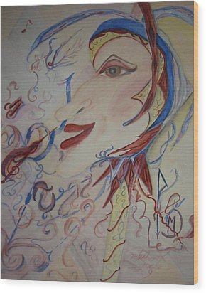 Music And Rune Jester Wood Print by Marian Hebert