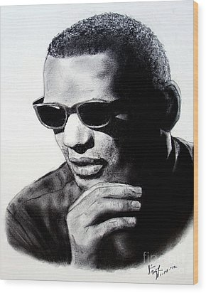 Wood Print featuring the painting Music Legend Ray Charles by Jim Fitzpatrick