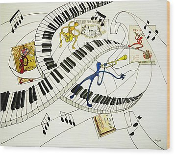Musical Happy People With Wine Wood Print by Glenn Calloway