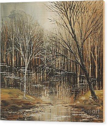 Wood Print featuring the painting Muskrat Motorworks by Tatiana Iliina