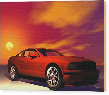 Wood Print featuring the digital art Mustang Gt by John Pangia