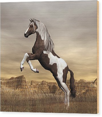 Wood Print featuring the digital art Mustang by Walter Colvin