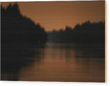 Muted River Moon Shine Wood Print by Artist Orange