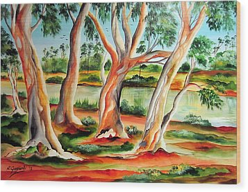 Wood Print featuring the painting My Australia Passion by Roberto Gagliardi