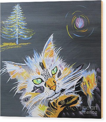 My Calico Cat Wizard Wood Print by Phyllis Kaltenbach